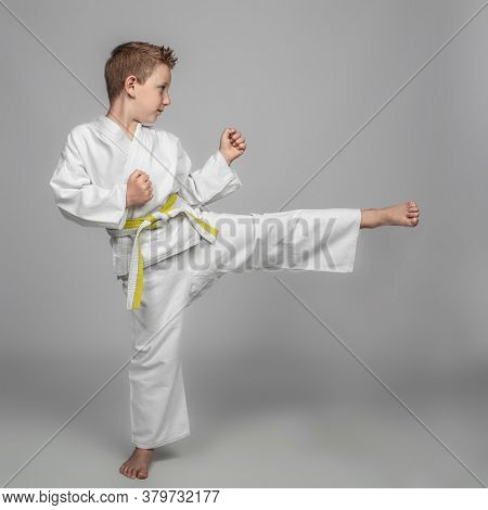 child intent on performing a martial arts kick. studio photos.