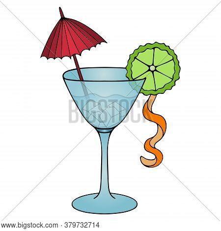 Martini. Colored Vector Illustration. Isolated White Background. Cartoon Style. Alcoholic Cocktail W