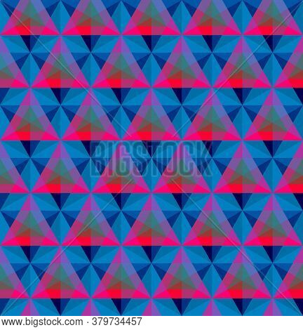 Blue And Red Triangular Geometric Seamless Pattern Vector Illustration