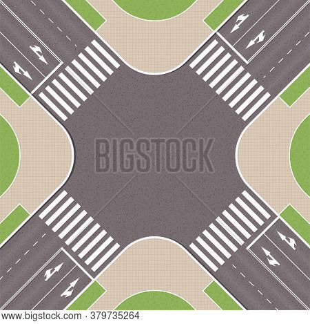 Empty Urban Crossroad With Pedestrian Paths. City Intersection With Pedestrian Zebra Lines. Top View