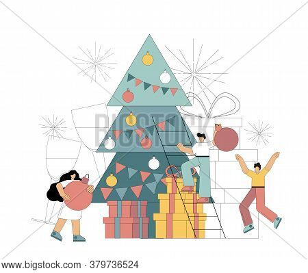 People Decorate The Christmas Tree. Preparing For The Holiday, For The New Year. Christmas Eve. The