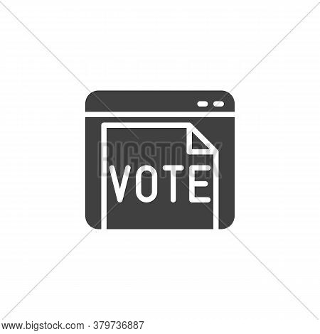 Online Voting Vector Icon. Filled Flat Sign For Mobile Concept And Web Design. Website With Vote Doc