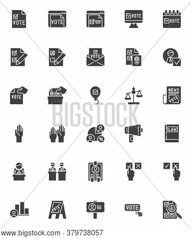 Voting And Election Vector Icons Set, Modern Solid Symbol Collection, Filled Style Pictogram Pack. S