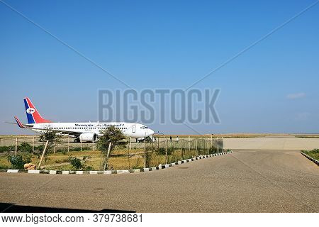 Hadibo, Yemen - March 12, 2010: Yemenia Airlines Plane On The Runway At Hadibo Airport Of Socotra Is
