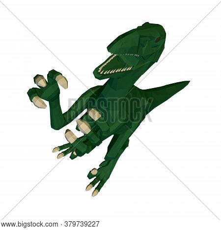 Low Poly Green Dinosaur. Angry Dinosaur With Raised Paws And Sharp Claws. Perspective View. 3d. Vect