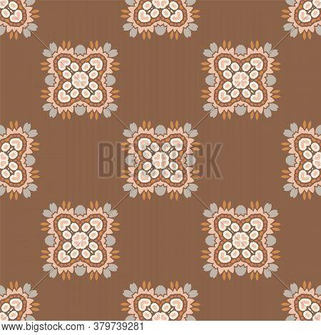 Seamless Background Folk Art Flower Gender Neutral Baby Pattern. Simple Whimsical Minimal Earthy 2 T