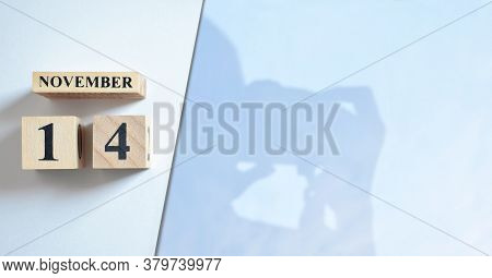 November 14, Shadow Of Photographer With Number Cube.
