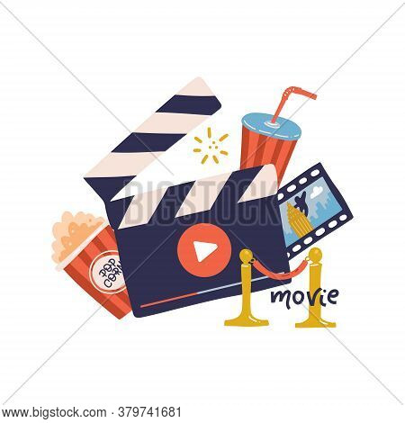 Flat Cinema Movie Concept Template With Clapper, Popcorn, Drink, Velvet Rope Isolated In White Backg