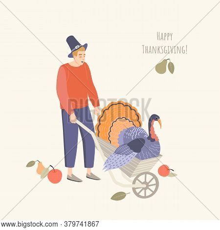 Thanksgiving Illustration With A Young Man Wearing A Pilgrim Hat And A Turkey In A Garden Wheelbarro