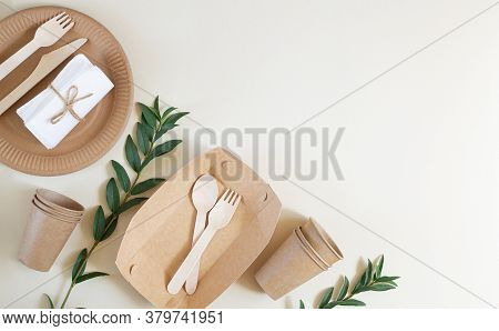 Eco-friendly Disposable Tableware For Fast Food On The Beige Background. Plastic Free Life Style Con