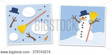 Snowman And His Single Parts - Jumpled And Put Together. Vector Comic Illustration On Blue Backgroun