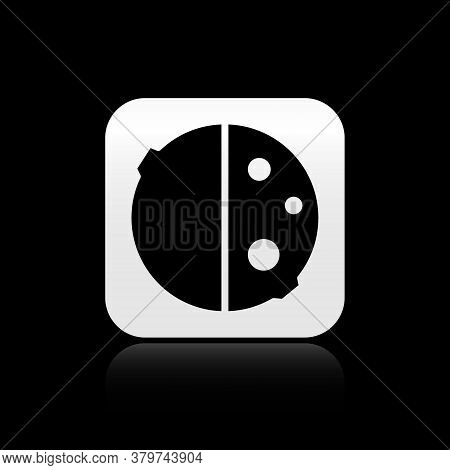 Black Eclipse Of The Sun Icon Isolated On Black Background. Total Sonar Eclipse. Silver Square Butto