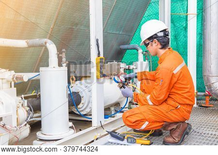 Electrician Operator Inspect And Checking Heating Ventilated And Air Conditioning (hvac), Air Condit