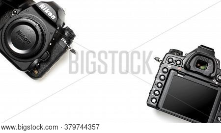Moscow, Russia - July 15, 2020: Modern Slr And Mirrorless Camera Nikon D780 Fx On White Background F