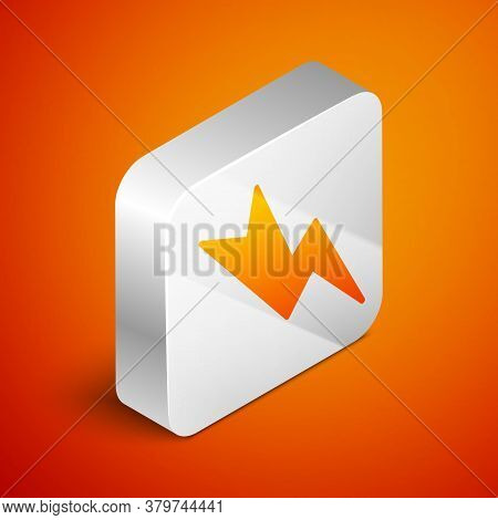 Isometric Lightning Bolt Icon Isolated On Orange Background. Flash Sign. Charge Flash Icon. Thunder