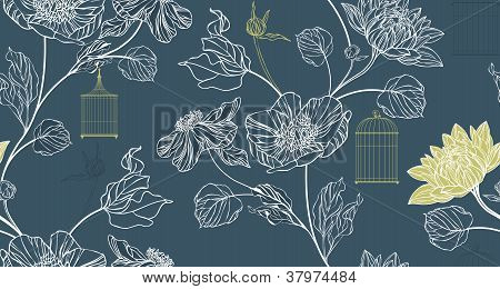 Pattern Background With Flowers And Birdcages