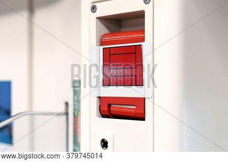 The Red Emergency Door Release Switch Control Inside The Sky Train, It's Set Up Beside The Door.