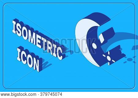 Isometric Moon And Stars Icon Isolated On Blue Background. Cloudy Night Sign. Sleep Dreams Symbol. N