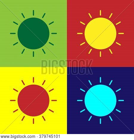 Pop Art Sun Icon Isolated On Color Background. Summer Symbol. Good Sunny Day. Vector Illustration