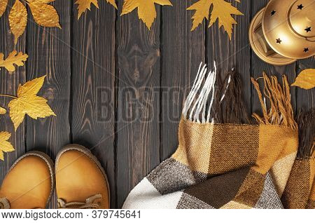 Autumn Fashion Concept. Brown Orange Leather Women Boots With Fur, Checkered Warm Plaid, Golden Autu