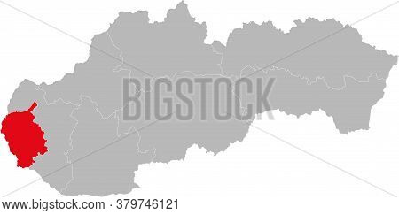 Bratislava Region Isolated On Slovakia Map. Gray Background. Backgrounds And Wallpapers.