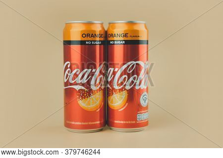 Samut Prakan, Thailand - August 6, 2020 : Canned Coke No Sugar Orange Flavoured The Most Popular Bev
