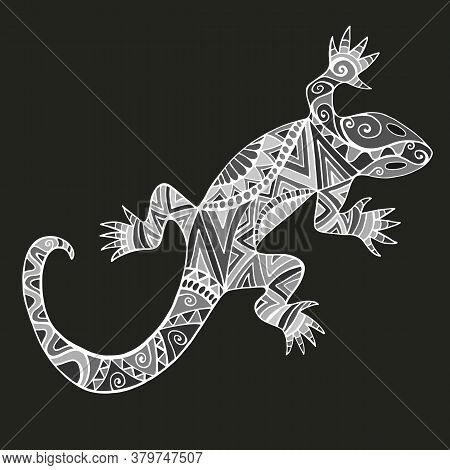 Decorative Lizard With Abstract Patterns, In Black White Gray Color, Isolated On Black Background.