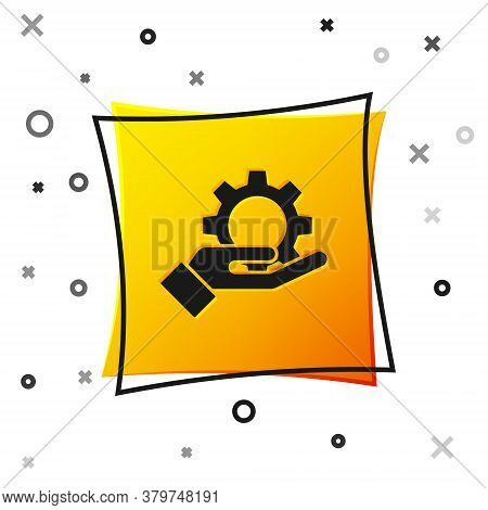 Black Hand Settings Gear Icon Isolated On White Background. Adjusting, Service, Maintenance, Repair,