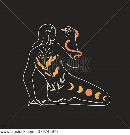 Woman With Ornament On Her Back Hold Serpent In Her Hand Isolated On Black Background. Concept Of Sp