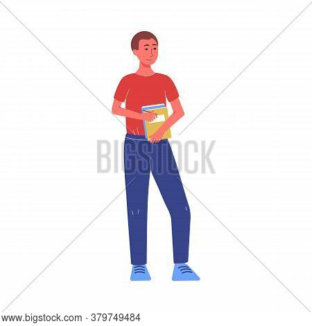 Young Student Man Holding Books And Textbooks Flat Vector Illustration Isolated.