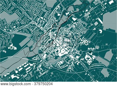 Map Of The City Of Canterbury, Kent, Uk