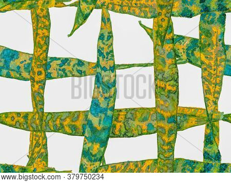 Watercolor Leaves Seamless Pattern. Green Menthe And Yellow Exotic Swimwear Design. Hawaii Aquarelle