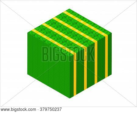 Big Stacked Pile Of Cash. Isometric Dollar Banknotes Stack. 3d Millions Of Dollars Block Vector Illu