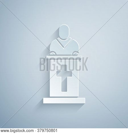 Paper Cut Church Pastor Preaching Icon Isolated On Grey Background. Paper Art Style. Vector Illustra