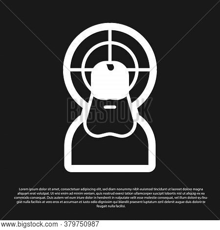 Black Jesus Christ Icon Isolated On Black Background. Vector Illustration