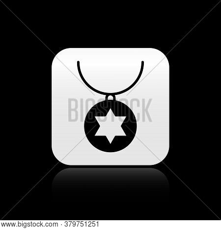 Black Star Of David Necklace On Chain Icon Isolated On Black Background. Jewish Religion. Symbol Of
