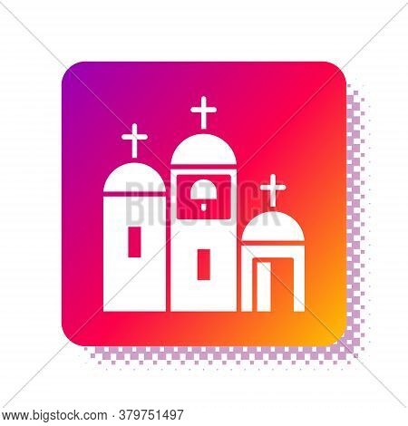 White Church Building Icon Isolated On White Background. Christian Church. Religion Of Church. Squar