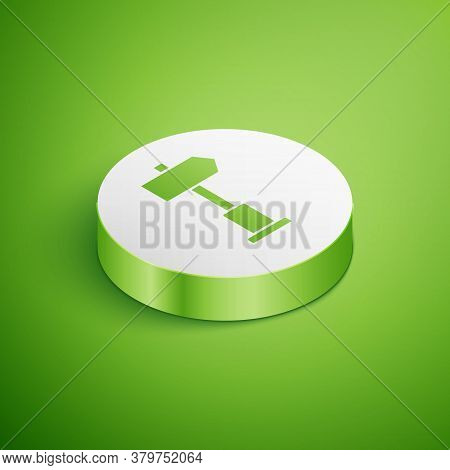 Isometric Road Traffic Sign. Signpost Icon Isolated On Green Background. Pointer Symbol. Street Info