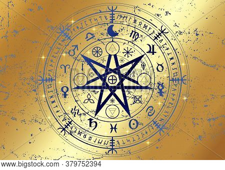 Wiccan Symbol Of Protection. Gold Mandala Witches Runes, Mystic Wicca Divination. Ancient Occult Sym