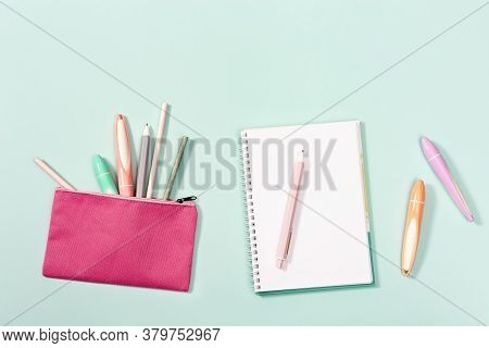 Flat Lay With Notebook And Stationery For Girl For School Or Drawing. Colorful Pens, Pencils, Ruler,