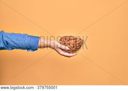 Beautiful hand of woman holding bowl with baked german pretzels over isolated yellow background