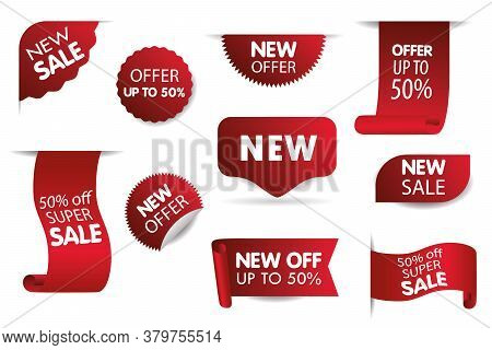 New Tag Ribbon And Banner Vector. Set Of Sale Tags With Text - Best Choice, Special Offer, Discounts
