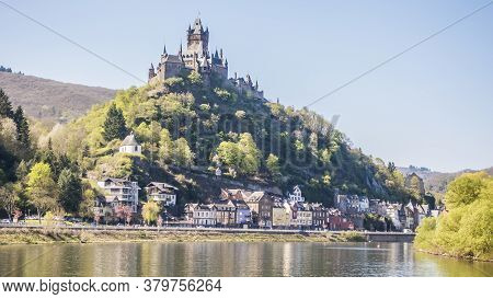 Picture Of Cochem Castle From River Mosel During Daytime In Summer 2017