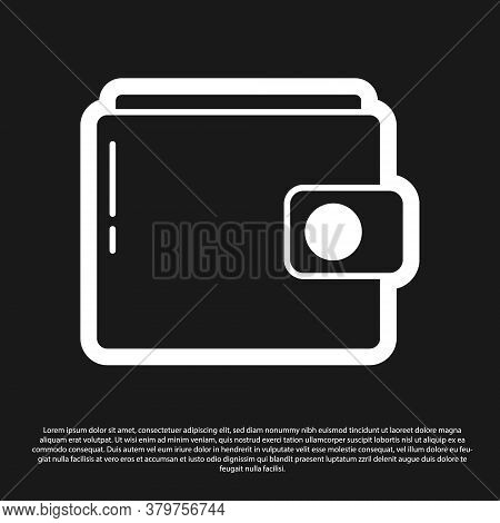 Black Wallet Icon Isolated On Black Background. Purse Icon. Cash Savings Symbol. Vector Illustration