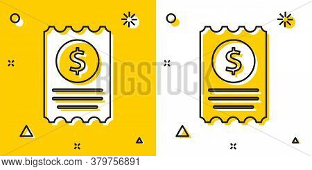 Black Paper Check And Financial Check Icon Isolated On Yellow And White Background. Paper Print Chec