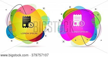Color Paper Check And Financial Check Icon Isolated On White Background. Paper Print Check, Shop Rec