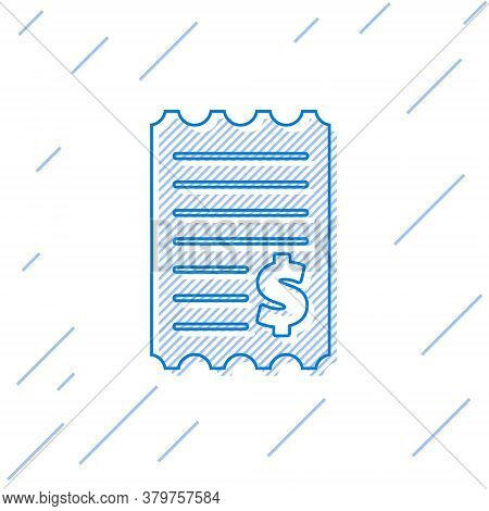 Blue Line Paper Check And Financial Check Icon Isolated On White Background. Paper Print Check, Shop