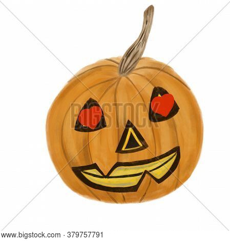 Jack O Lantern Halloween Pumpkin In Love With Red Heart Shape In Eyes Isolated On White Background.