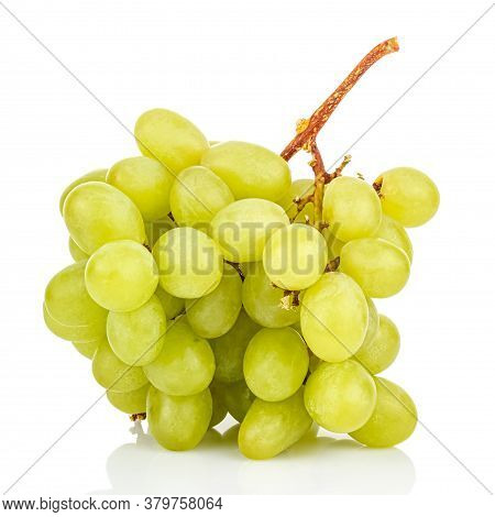 Bunch Of Green Grapes On Glossy Surface With Reflection Isolated On White Background