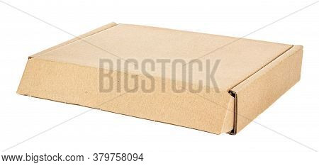 Closed Flat Brown Carton Box Isolated On White Background